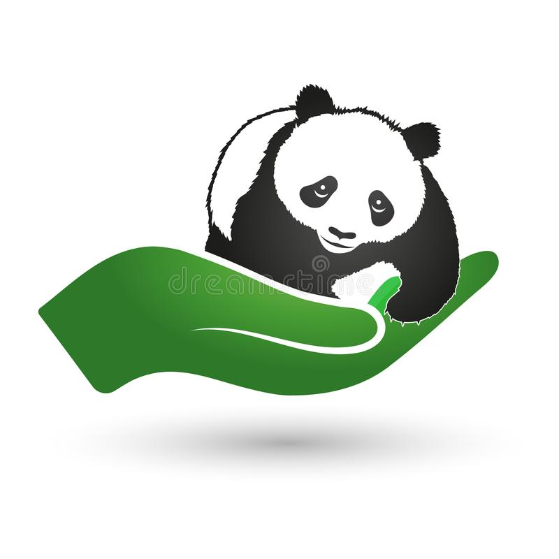 Panda In Hand Symbol Of Ecology And Nature Protection Stock Vector