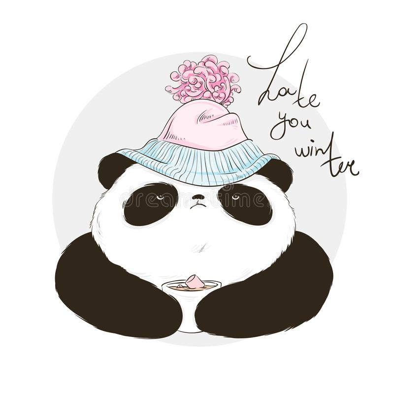 Panda in hat with bubo with lettering hate winter. Vector illustration for greeting card, poster, or print on clothes. Christmas a. Nd New Year royalty free illustration