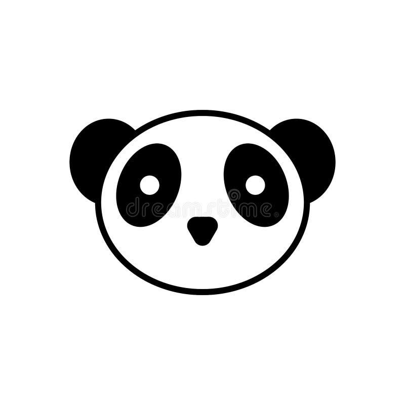 Panda Head Icona del panda di vettore fondo isolato e bianco royalty illustrazione gratis