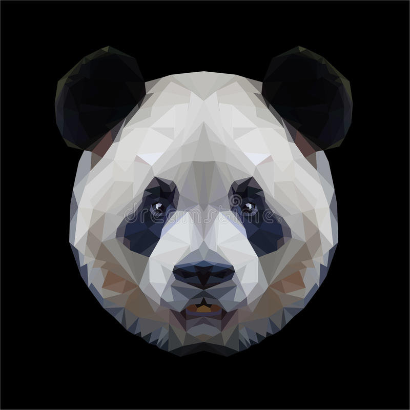 Panda head polygon portrait stock image