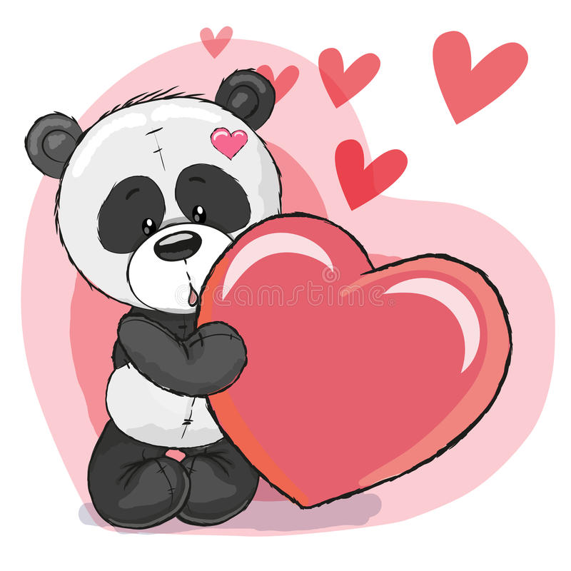Panda with heart stock vector. Illustration of cartoons ...