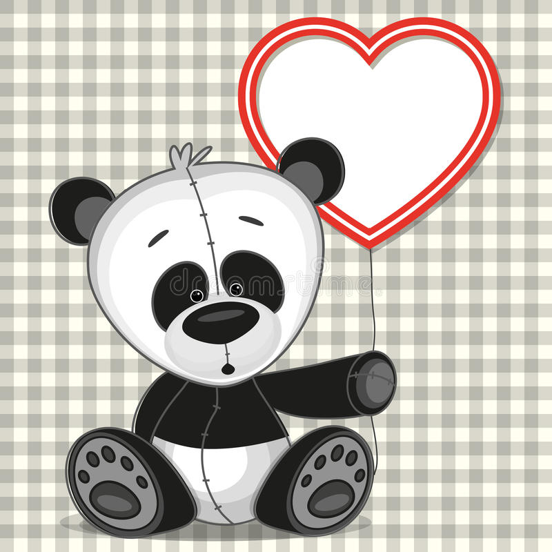 Panda with heart frame royalty free illustration