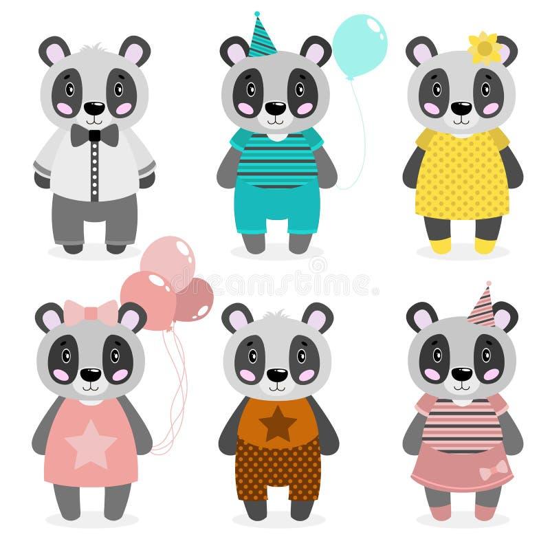 Panda heureux mignon de vecteur habillé dans différents vêtements, filles et garçons Copie de Scrapbooking Félicitez la carte illustration de vecteur