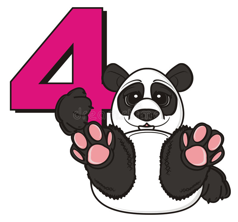 Panda hold a number four stock illustration