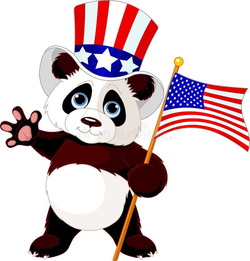 Panda Holding American Flag ilustración del vector