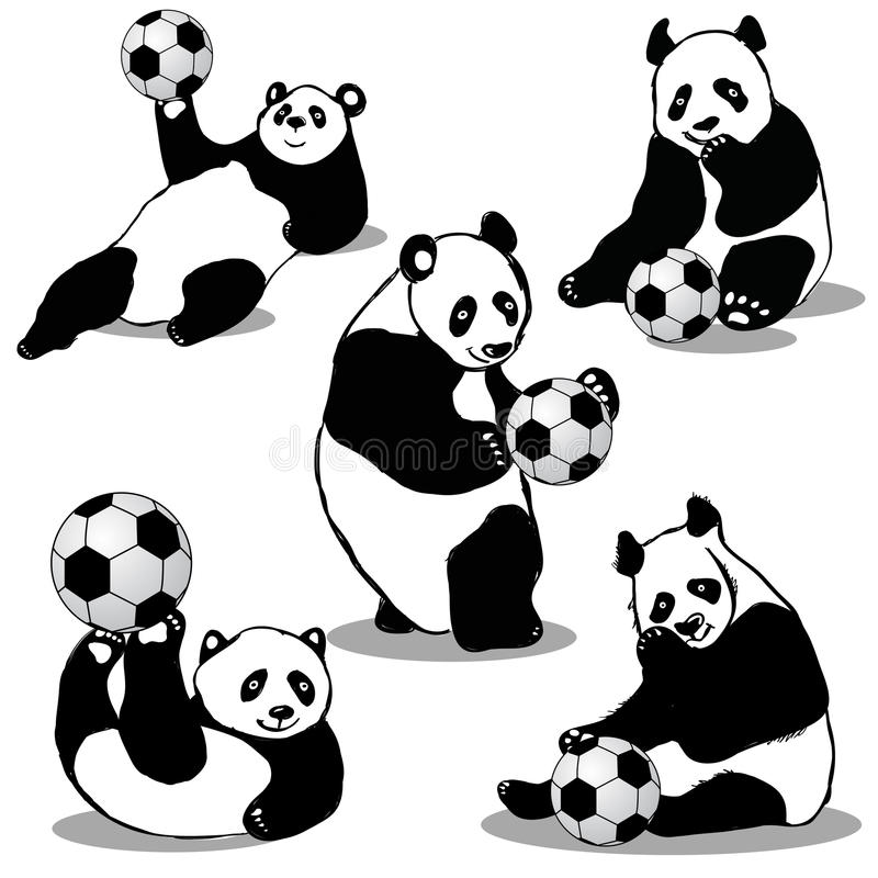 Panda Holds Soccer Ball stock illustratie