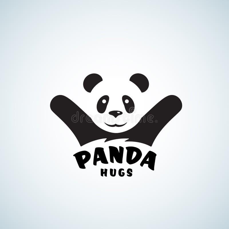 Panda Hugs Abstract Vector Emblem ou Logo Template Illustration drôle d'ours avec l'effet négatif de l'espace illustration stock