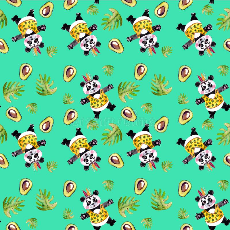 Panda hugs seamless pattern with avocado and tropical leaves royalty free stock image
