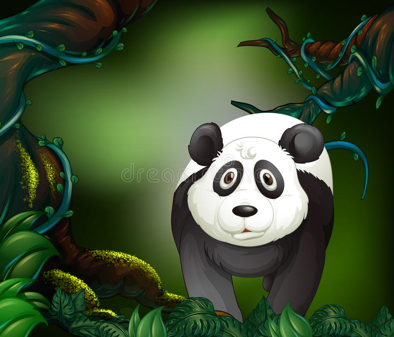 Panda i en regnskog royaltyfri illustrationer