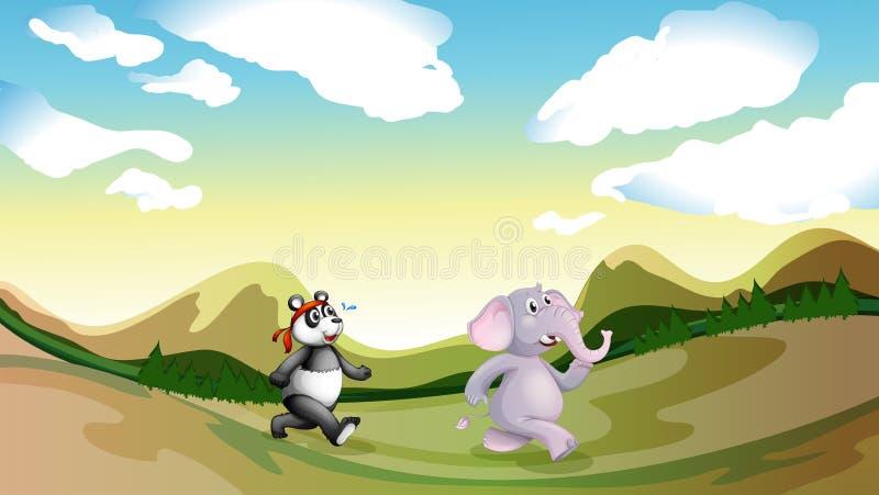 Panda i słonia odprowadzenie wzdłuż gór royalty ilustracja