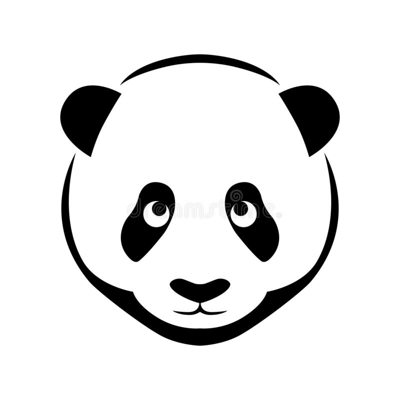 Panda head flat symbol. Icon panda head. Flat symbol panda. Isolated sign on white background. Vector Illustration royalty free illustration