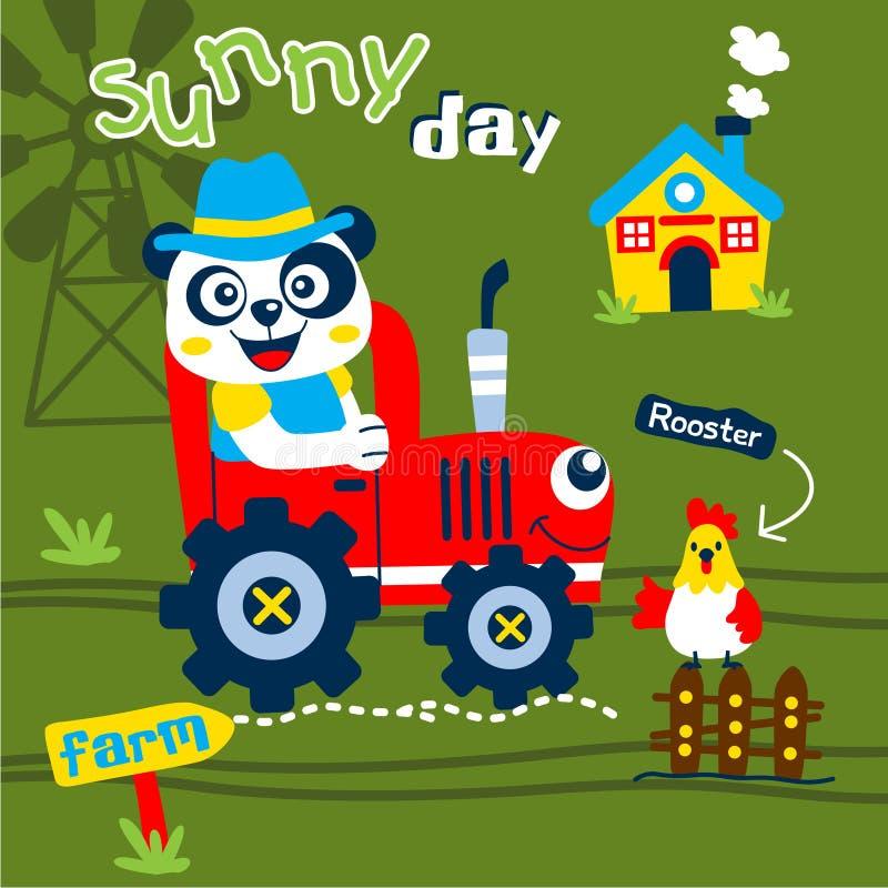 Panda il fumetto animale divertente dell'agricoltore, illustrazione di vettore illustrazione di stock