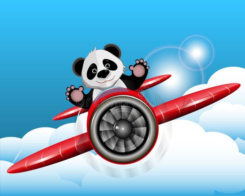 Panda im Flugzeug lizenzfreie abbildung