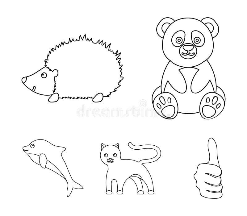 Panda, jeż, delfin, pantera Zwierzę ustalone inkasowe ikony w konturu stylu wektorowym symbolu zaopatrują ilustracyjną sieć royalty ilustracja