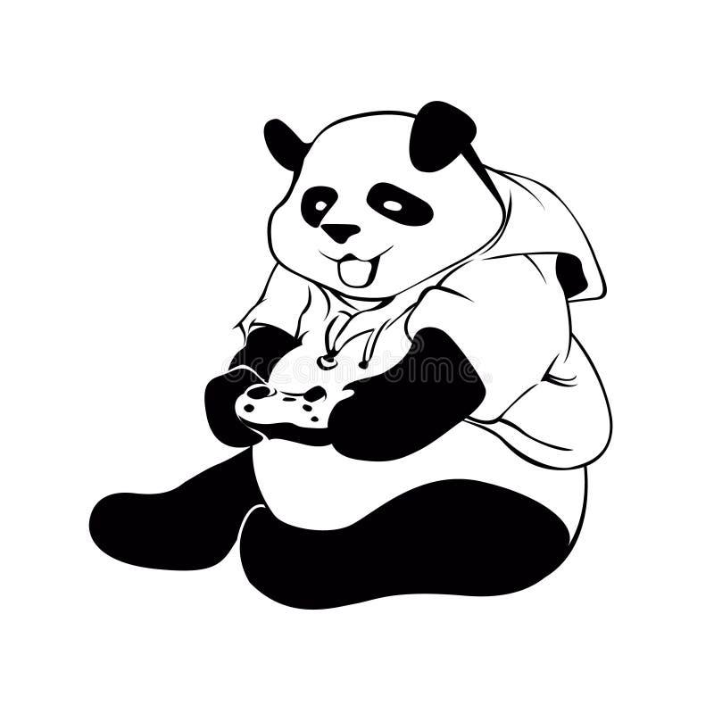 Panda jouant le jeu vidéo illustration stock