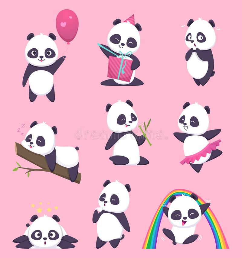 Panda kids. Little funny bear sweet animals in action poses vector cartoon characters stock illustration
