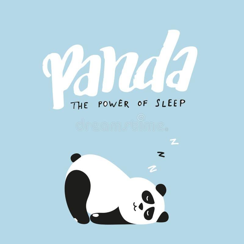 Panda, la puissance de l'illustration drôle de sommeil Vecteur Panda Fast Asleep mignon Lettrage tiré par la main illustration libre de droits