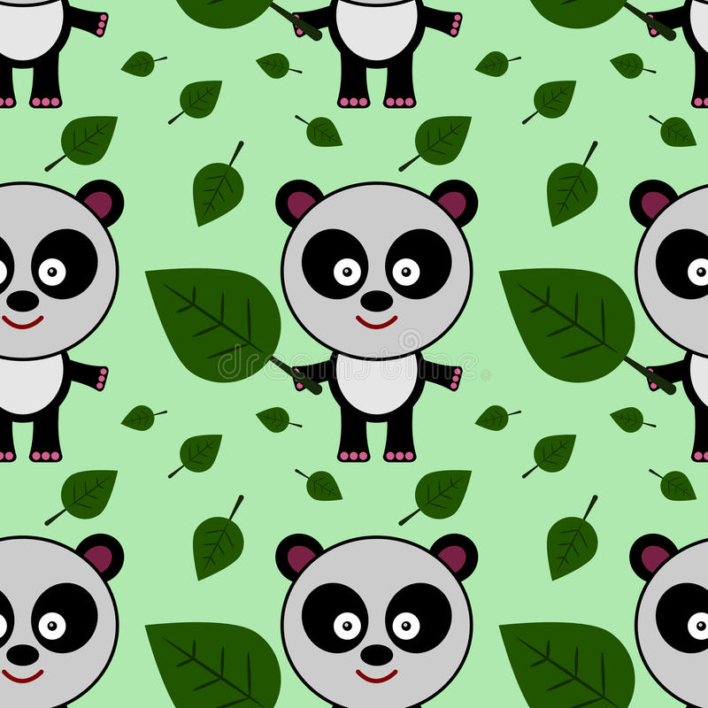 Panda and leaf seamless background design. A background design for graphic element use stock illustration