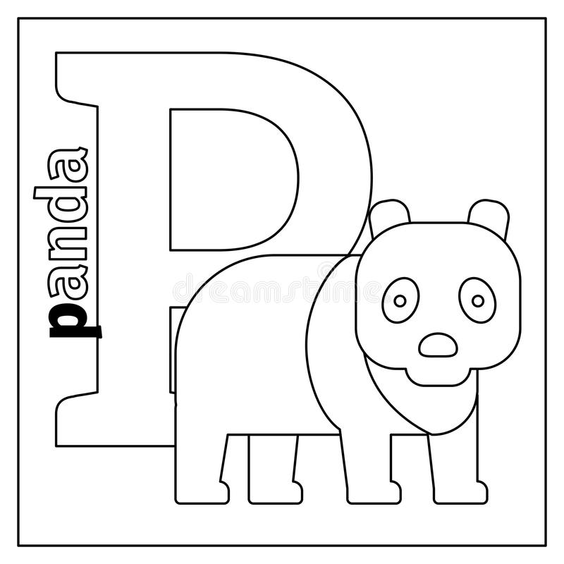 Download Panda Letter P Coloring Page Stock Vector