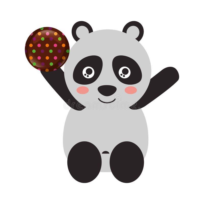 Panda linda con el chocolate dulce del caramelo stock de ilustración