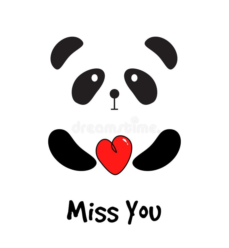 Panda linda con el corazón rojo que usted carda libre illustration