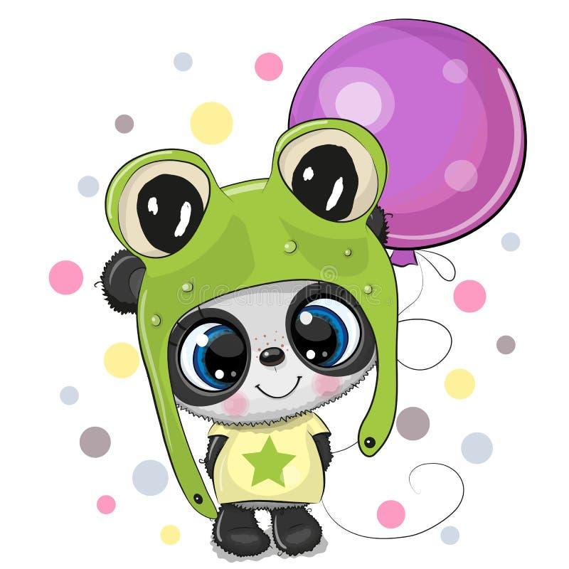 Panda linda de la historieta en un sombrero de la rana con el globo ilustración del vector