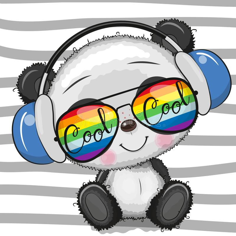 Panda linda de la historieta fresca con los vidrios de sol ilustración del vector