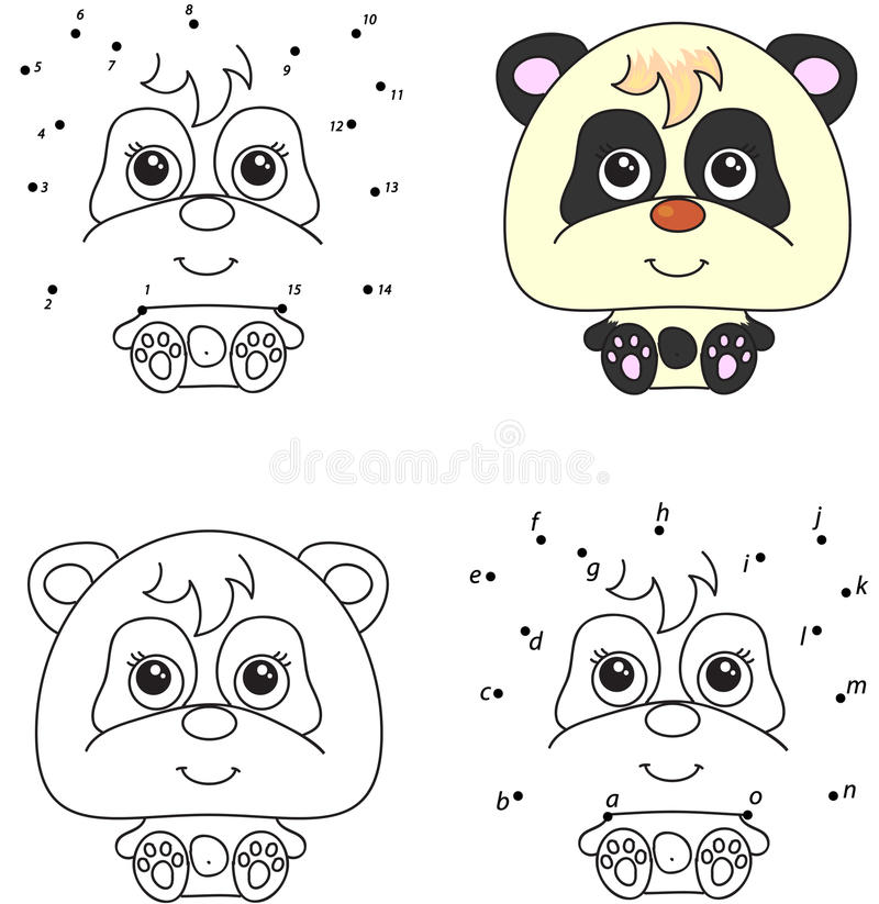 Panda Linda Del Drenaje De La Mano Libro De Colorear Y Punto Para ...