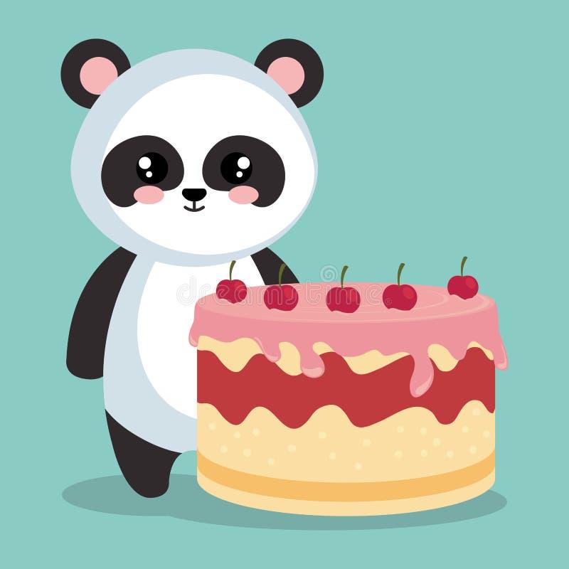 Panda linda del oso con la torta deliciosa stock de ilustración