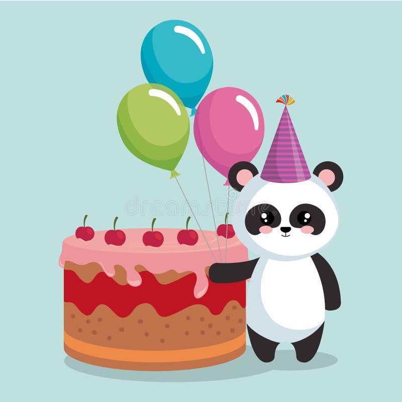 Panda linda del oso con la torta deliciosa libre illustration