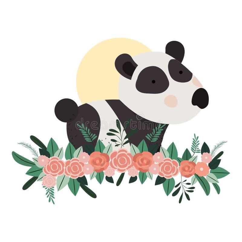 Panda linda y adorable con la decoración floral stock de ilustración