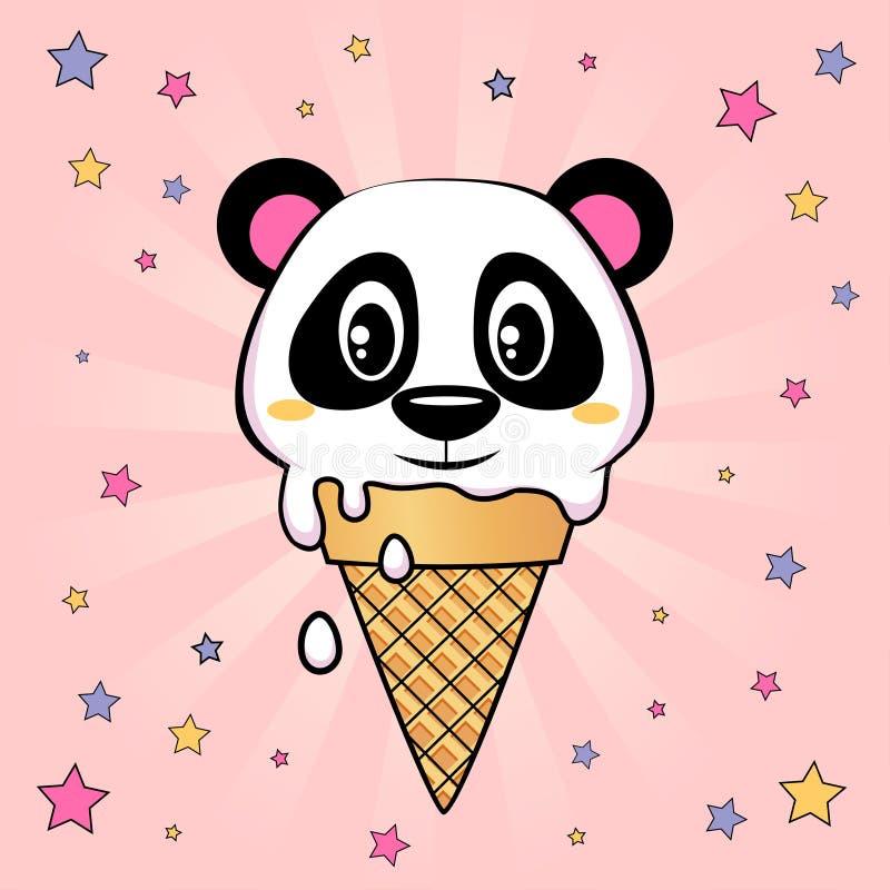 Panda lody Śliczna mała panda w gofra rożku na różowym tle ilustracja wektor