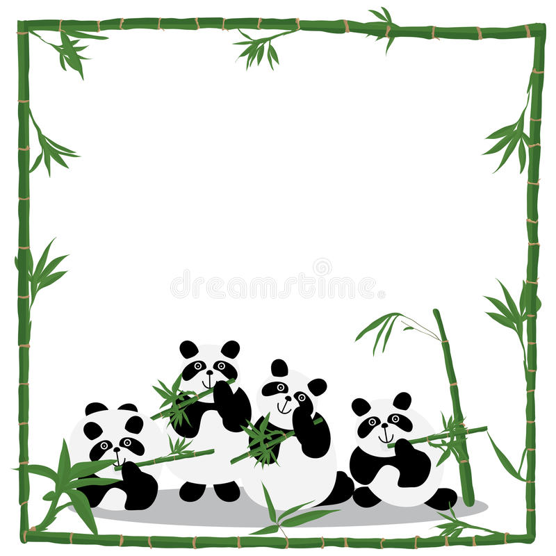 Panda love bamboo frame royalty free illustration