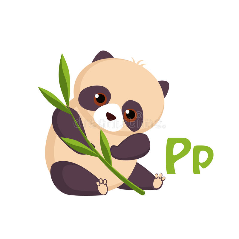 Panda Lustiges Alphabet, Tiervektor-Illustration vektor abbildung