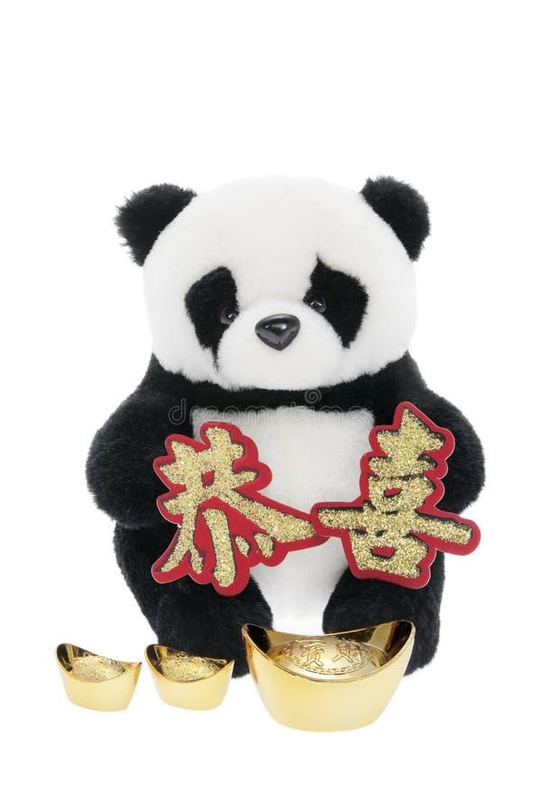 Panda macia do brinquedo com as decorações chinesas do ano novo imagens de stock