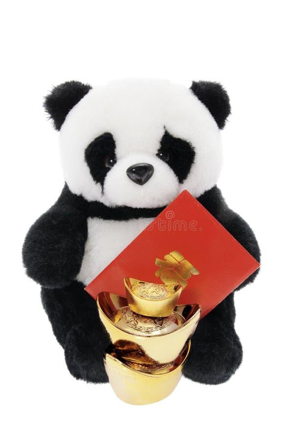 Panda macia do brinquedo com as decorações chinesas do ano novo fotos de stock royalty free