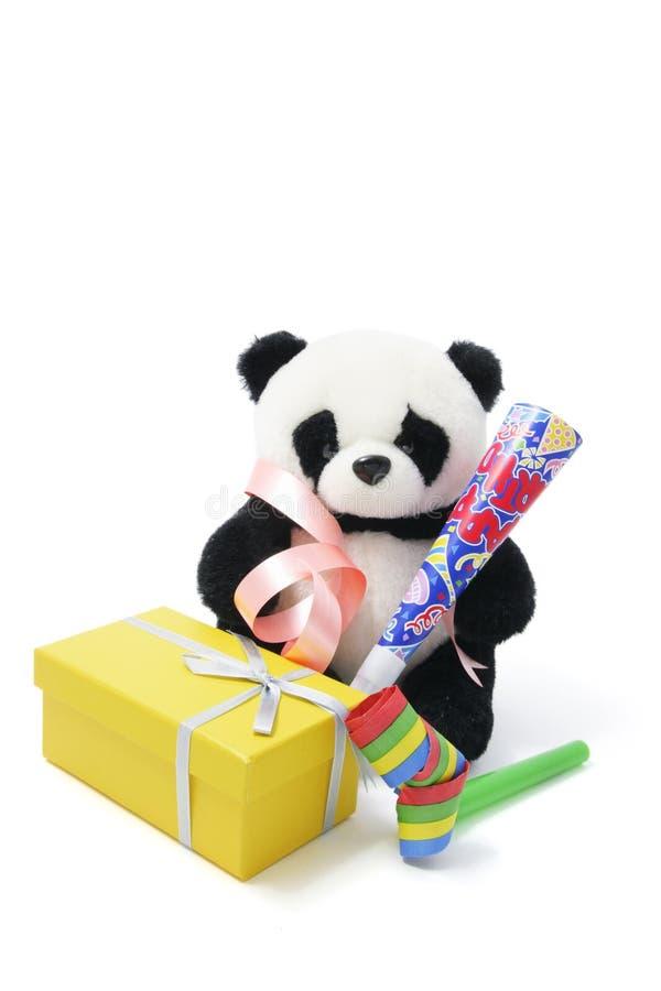 Panda macia do brinquedo com favores de partido fotografia de stock royalty free