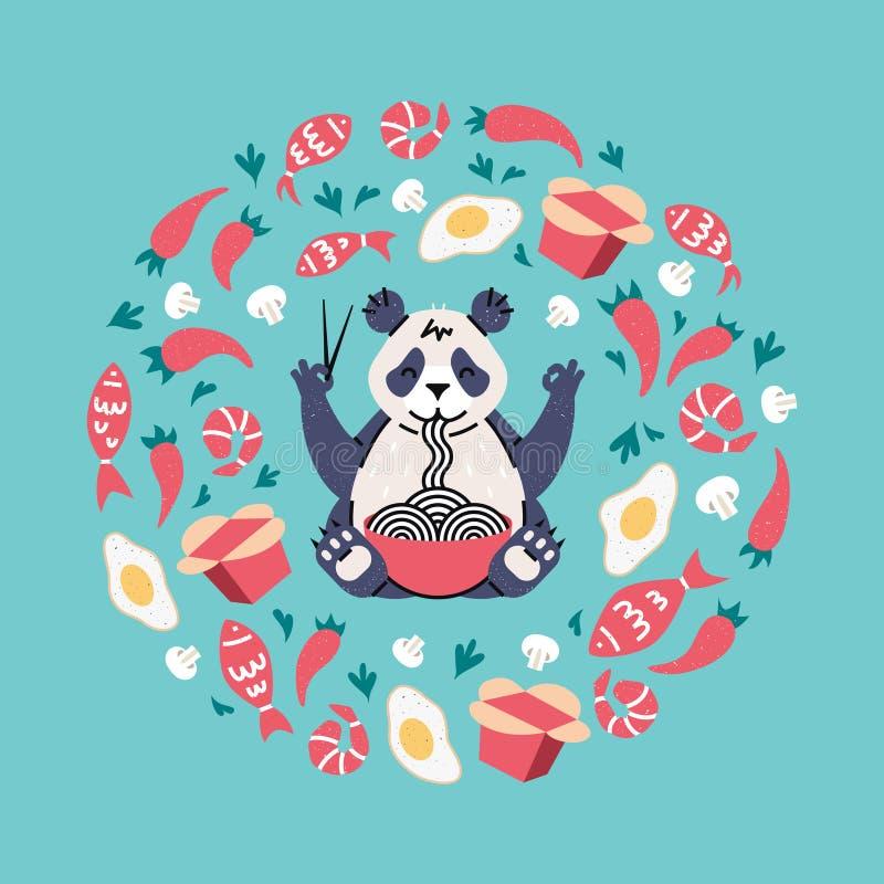 Panda mangeant des nouilles avec des baguettes Ingrédients de vol image stock