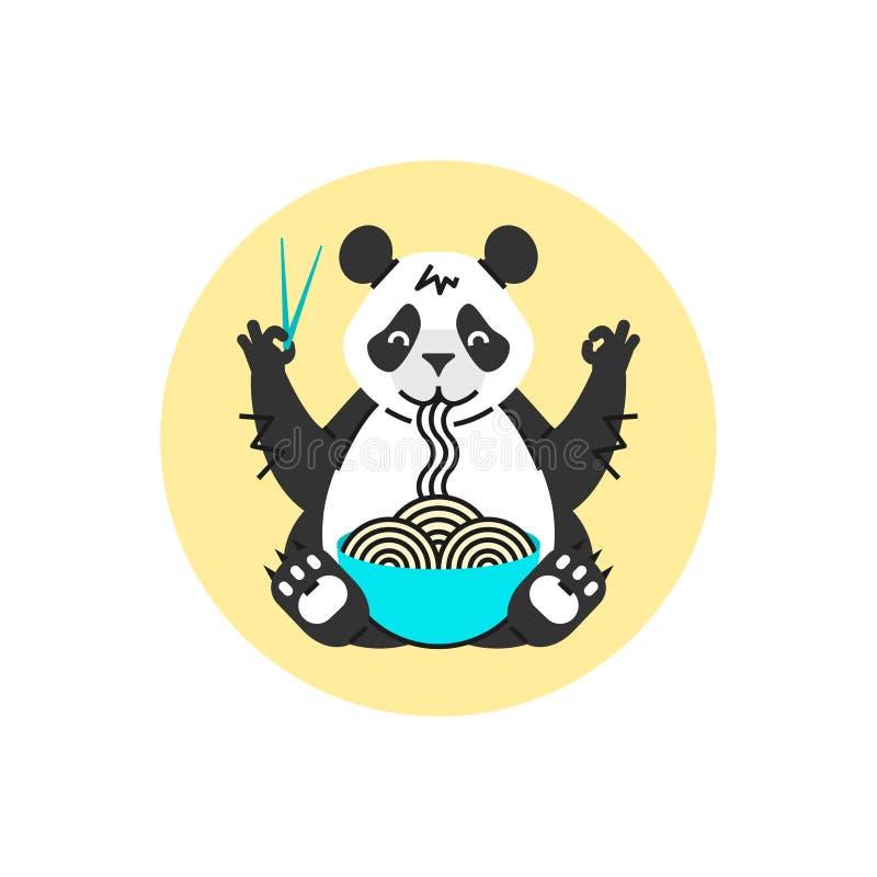 Panda mangeant des nouilles avec des baguettes Logotype animal simple pour le café ou l'affiche chinois Type de dessin animé photo stock