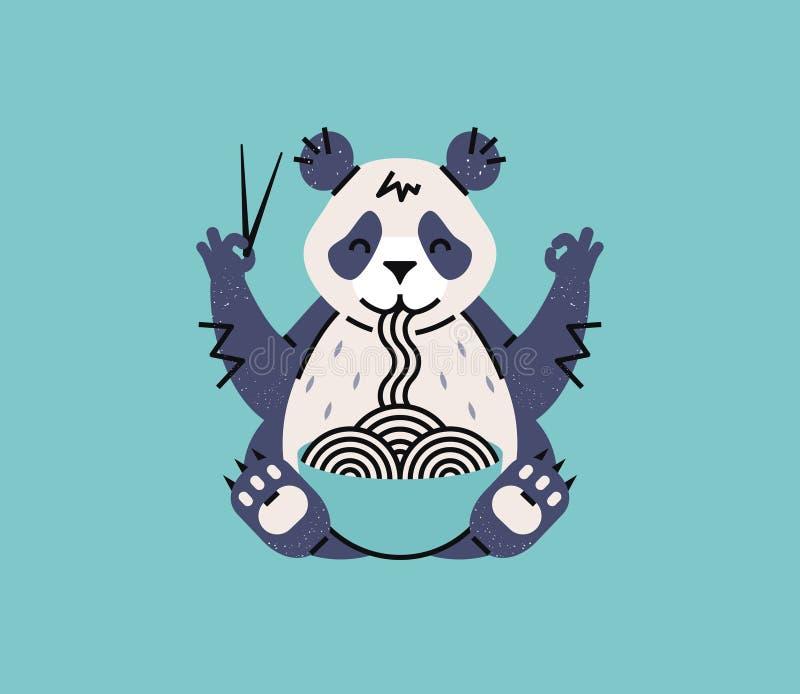 Panda mangeant des nouilles avec des baguettes Logotype animal simple pour le café ou l'affiche chinois Type de dessin animé photographie stock libre de droits