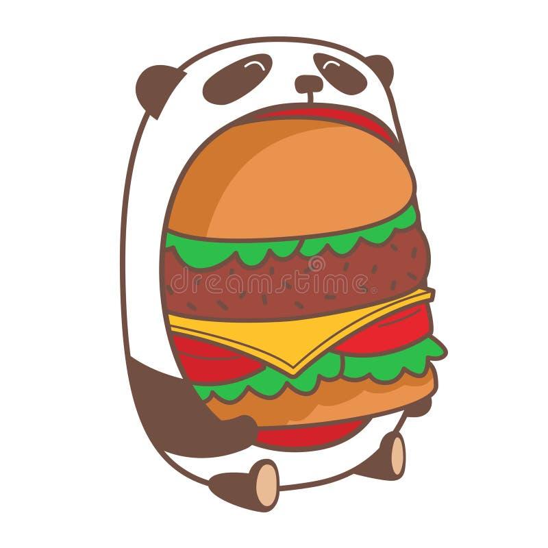 Panda mangeant l'hamburger énorme illustration libre de droits