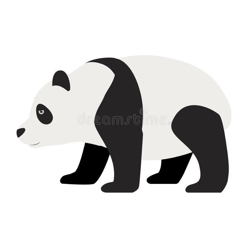 Panda marchant l'illustration animale plate de vecteur d'isolement sur le blanc illustration de vecteur