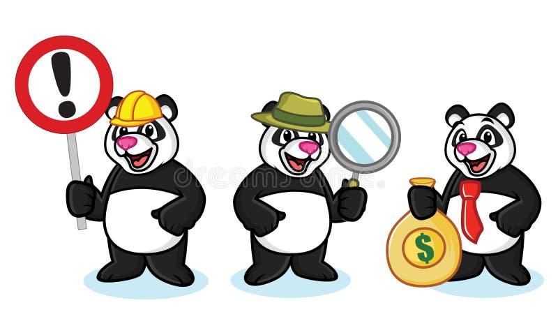 Panda Mascot Vector avec l'argent illustration libre de droits