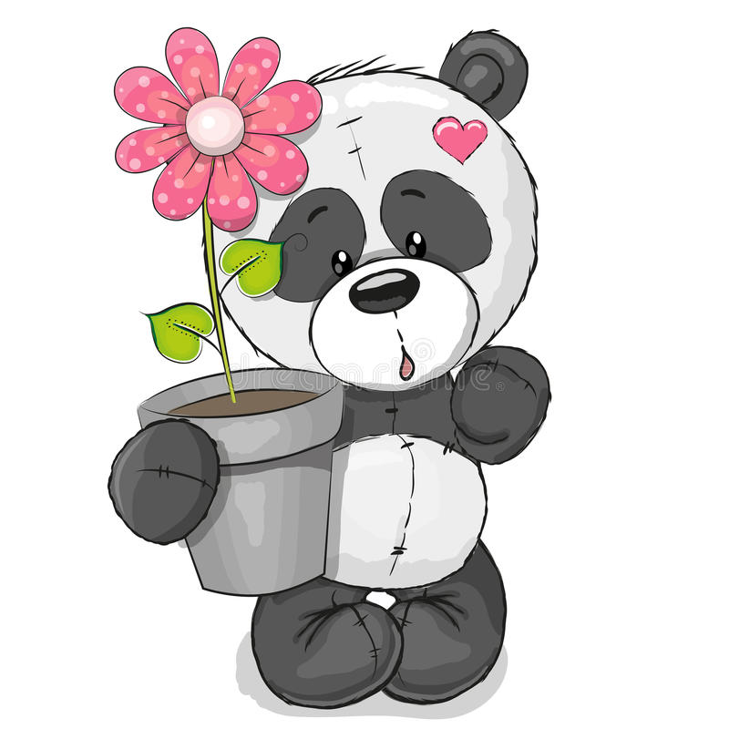 Panda med blomman stock illustrationer