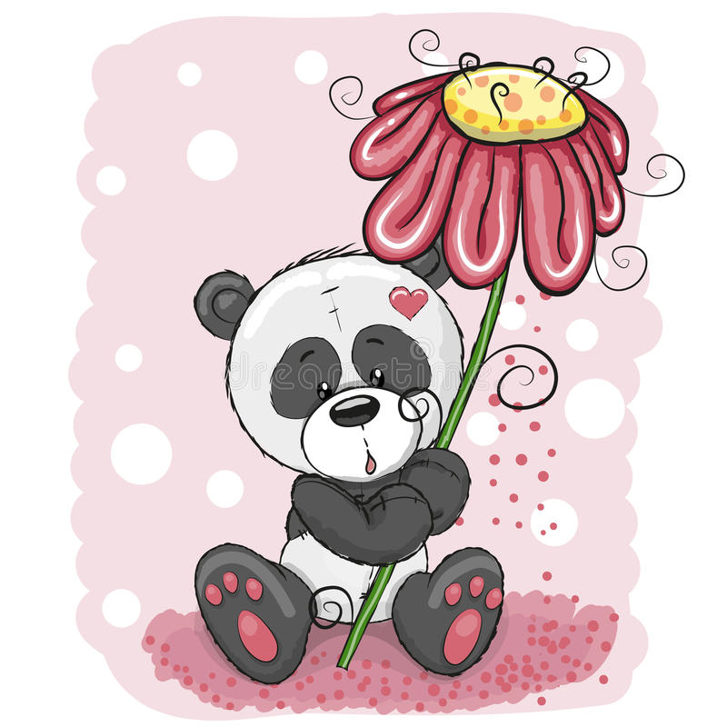 Panda med blomman royaltyfri illustrationer