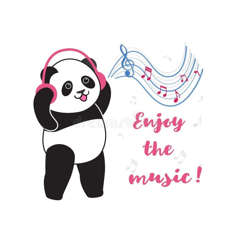 Panda med hörlurar som lyssnar till musik royaltyfri illustrationer
