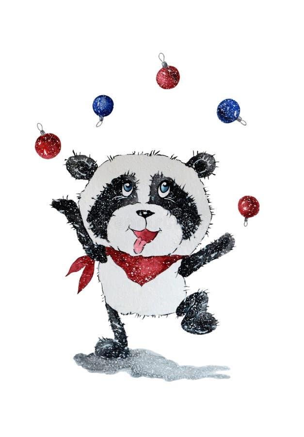 Panda med julbollar vektor illustrationer