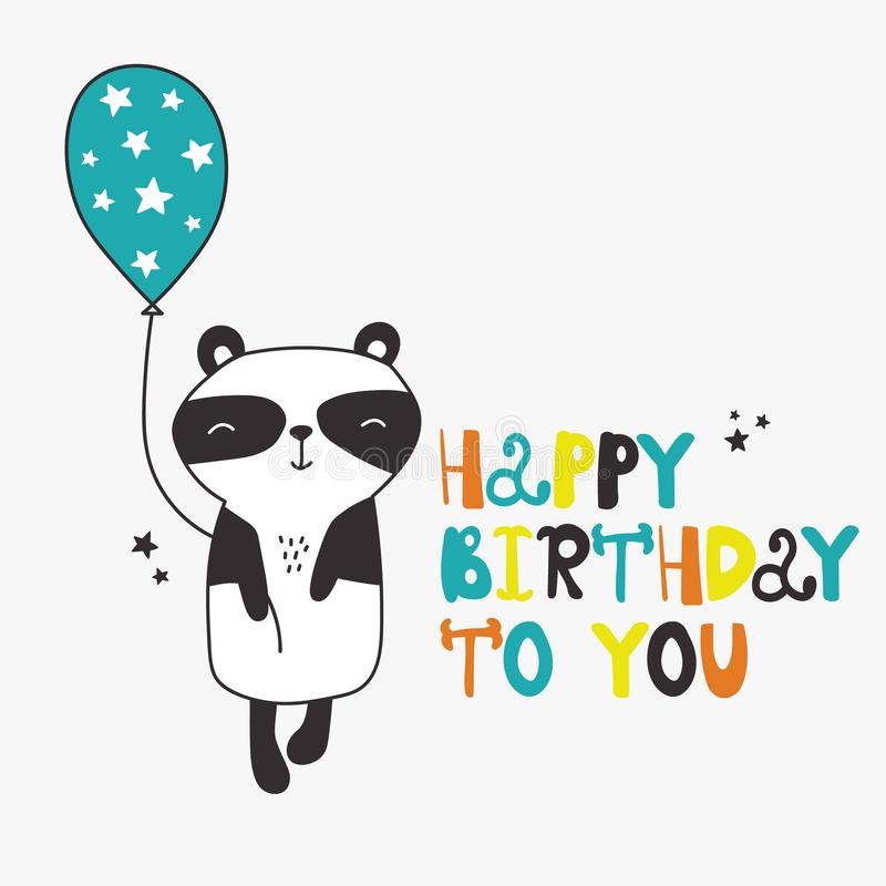 Panda med luftballongen och engelsk text, dekorativ bakgrund F vektor illustrationer