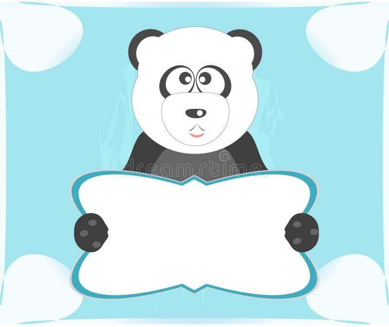 Panda met leeg blad voor uw eigen tekst stock illustratie