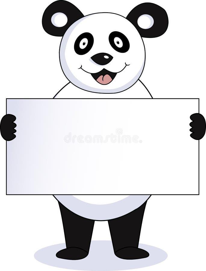 Panda met leeg teken vector illustratie